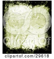 Clipart Illustration Of A Textured Green Background Bordered By Black Dotted Grunge