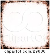 Clipart Illustration Of A White Scrapbook Background Bordered By Orange And Black Grunge Marks