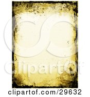 Clipart Illustration Of A Yellow And Black Grunge Border Over An Off White Stationery Background by KJ Pargeter