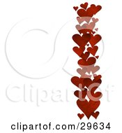 Row Of Red Textured Hearts Along The Right Side Of A White Background
