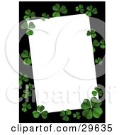 Clipart Illustration Of A Textured Green Four Leaf Clovers On A Black Border Over White Space Great For Stationery