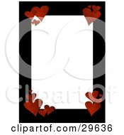 Textured Red Hearts In The Corners Of A Blank White Stationery Text Space Bordered By Black