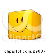 Clipart Illustration Of A Yellow Smiley Face Emoticon Cube With A Big Grin