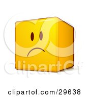 Clipart Illustration Of A Sad Yellow Smiley Face Emoticon Cube With Pouting And Frowning