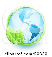 Clipart Illustration Of A Shiny Blue Earth Over A White Background With A Green Vine With Two Leaves And Dew Drops by beboy