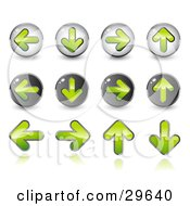 Clipart Illustration Of A Set Of 12 Green Upload Download Back And Forth Buttons