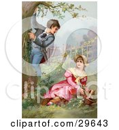 Clipart Illustration Of A Vintage Victorian Scene Of A Little Boy Climbing A Tree While Showing Off For A Girl As She Picks Flowers In A Garden Circa 1890