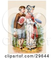 Clipart Illustration Of A Vintage Victorian Scene Of A Boy Carrying Flowers And Walking Behind A Girl As She Reads A Love Letter Circa 1886