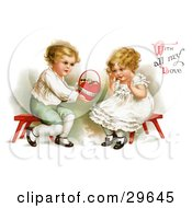 Clipart Illustration Of A Vintage Victorian Scene Of A Sweet Little Boy Sitting On A Red Stool Holding Out A Basket Of Candy To A Girl And With All My Love Text By Ellen H Clapsaddle Circa 1912 by OldPixels
