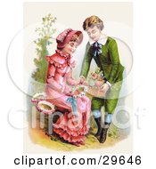Clipart Illustration Of A Vintage Victorian Scene Of A Sweet Young Boy Giving A Girl A Basket Of Flowers For Her To Make Wreaths With Circa 1886 by OldPixels