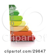Clipart Illustration Of A Green Yellow Orange And Red Energy Rating Graph On A White Background by KJ Pargeter