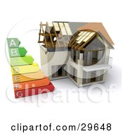 Clipart Illustration Of An Energy Rating Graph Beside A Partially Built Home by KJ Pargeter