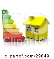 Clipart Illustration Of A Colorful Energy Rating Graph Beside A Small Yellow House by KJ Pargeter