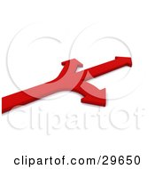 Clipart Illustration Of A Red Arrow Branching Off To The Left Right And Forward