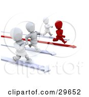 Clipart Illustration Of A Red Character Running On An Arrow Leading The Way And Racing Against White Characters by KJ Pargeter