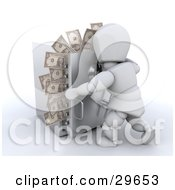 Clipart Illustration Of A White Character Trying To Close The Door To A Safe With Money Sticking Out