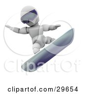 Clipart Illustration Of A White Character Wearing Goggles And Snowboarding