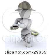 White Character Fire Fighter Pulling A Fire Hose by KJ Pargeter