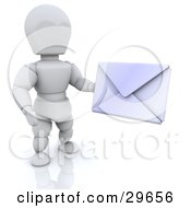 White Character Holding A Sealed White Envelope