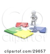 Clipart Illustration Of A White Character Standing And Looking Down At An Incomplete Colorful Jigsaw Puzzle