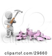 White Character Holding A Hammer Over A Shattered Piggy Bank