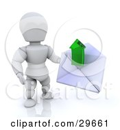 White Character Holding A White Envelope With A Green Arrow Emerging
