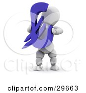 White Character Holding A Blue Euro Symbol