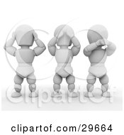 Clipart Illustration Of Three White Characters Covering Their Ears Eyes And Mouth by KJ Pargeter
