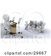 Clipart Illustration Of A White Character Giving A Political Speech To A Group Of People by KJ Pargeter