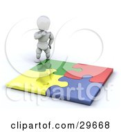 Clipart Illustration Of A White Character Looking Down At A Completed Colorful Puzzle