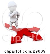Clipart Illustration Of A White Character In Thought Standing On A Path Of Arrows Leading In Different Directions by KJ Pargeter