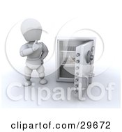 Clipart Illustration Of A White Character Wondering What To Do While Looking At The Last Banknote In A Personal Safe