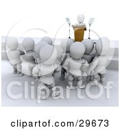 Clipart Illustration Of A Group Of White Characters Standing And Listening To A Politician Give A Speech
