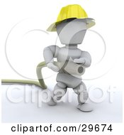 White Character Fireman Running With A Big Hose by KJ Pargeter
