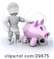 Clipart Illustration Of A White Character Resting One Arm On A Big Pink Piggy Bank by KJ Pargeter