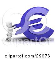 White Character Pushing A Blue Euro Symbol