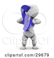 Clipart Illustration Of A White Character Holding Up A Blue Pound Sterling Symbol