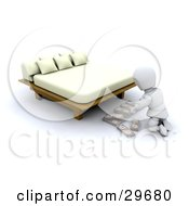 Clipart Illustration Of A White Character Organizing Bundles Of Cash And Hiding It Under A Bed
