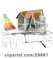 Clipart Illustration Of A White Character Resting Against A Compass By A House With An Energy Rating Graph On Blueprints With Rulers And A Pen