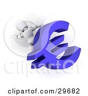 Clipart Illustration Of A White Character Crushed Under A Blue Euro Symbol
