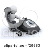Clipart Illustration Of A White Character Holding Up A Black Landline Telephone Receiver While Making A Call by KJ Pargeter