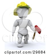 White Character Fireman Carrying An Ax And Wearing A Hardhat by KJ Pargeter