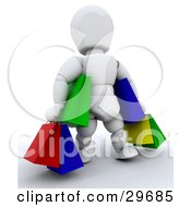 Clipart Illustration Of A White Character Carrying Handfuls Of Colorful Shopping Or Gift Bags by KJ Pargeter
