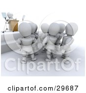 Clipart Illustration Of A White Character Giving A Speech To A Crowd