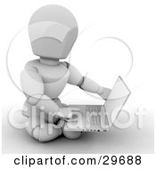 Clipart Illustration Of A White Character Sitting On The Ground And Using A Laptop Computer