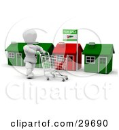 Clipart Illustration Of A White Character Pushing A Cart While Shopping Along A Row Of Homes