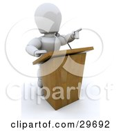 Clipart Illustration Of A White Character Pointing While Standing Behind A Podium And Giving A Speech