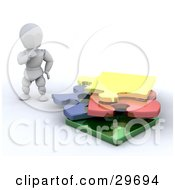 Clipart Illustration Of A White Character Touching His Chin And Looking At A Stack Of Puzzle Pieces