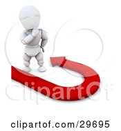 Clipart Illustration Of A Thinking White Character Standing By A Red Arrow Forming A U Turn by KJ Pargeter