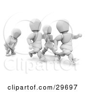 Clipart Illustration Of A Tired White Character Catching His Breath While Running Behind Others